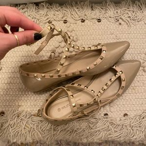 Beige Studded Valentino Dupe Flats